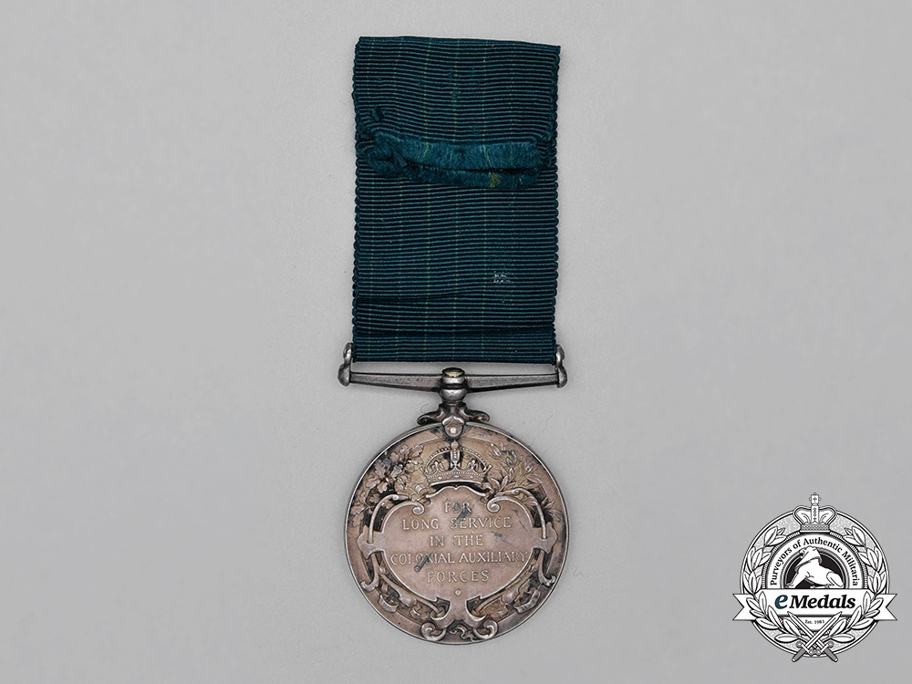 A Colonial Auxiliary Forces Long Service Medal to Quartermaster & Honorary Major David Robertson