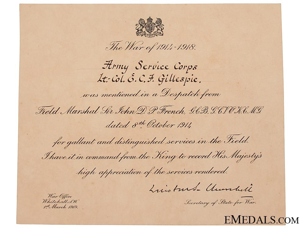 The Great War C.B., C.M.G. group of six awarded to Brigadier-General E. C. F. Gillespie