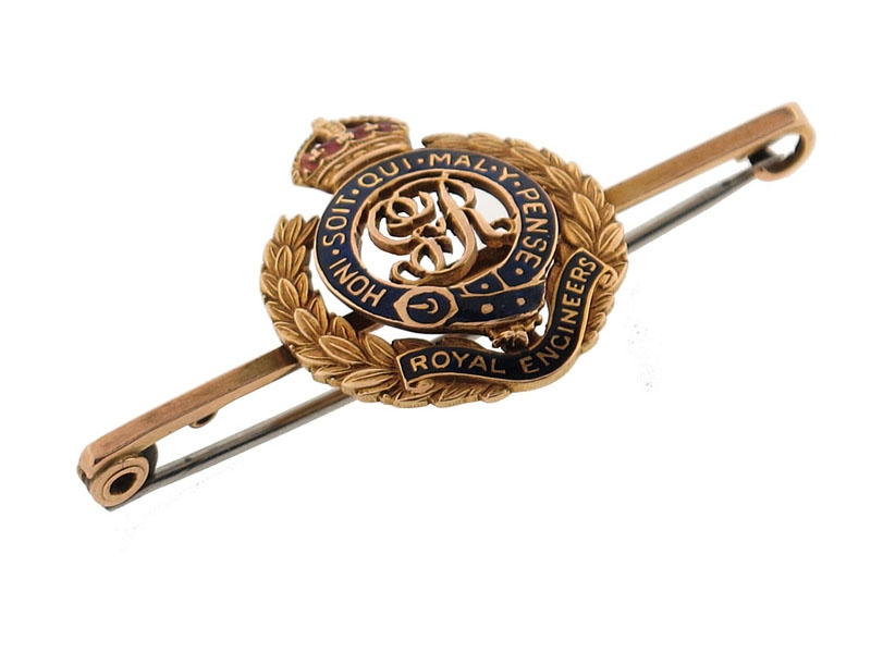 WWI Royal Engineers Tie Clip in Gold