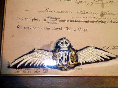 RFC CERTIFICATE & ORIGINAL WING 1917