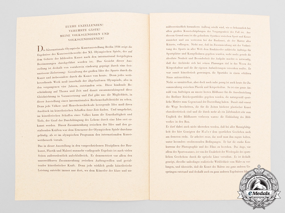 Germany, Third Reich. A Scarce Set of 1936 Olympic Art Exhibition Opening Speeches with Menu