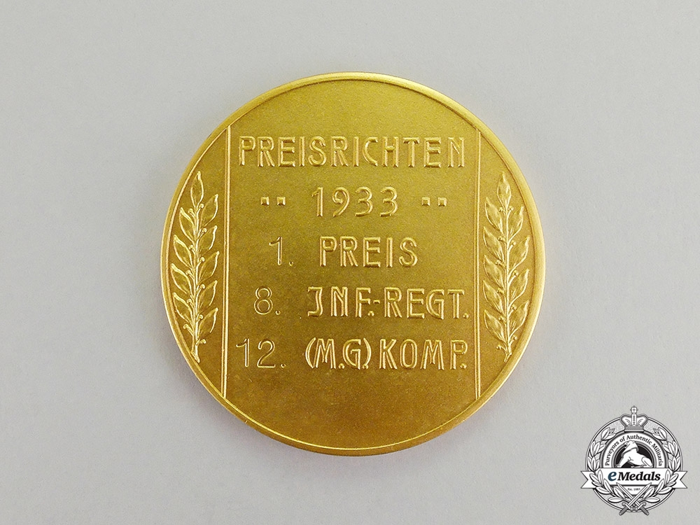 Germany. A 1933 MG Proficiency First Prize Table Medal of the 8th Infantry Reg. 12 MG Komp