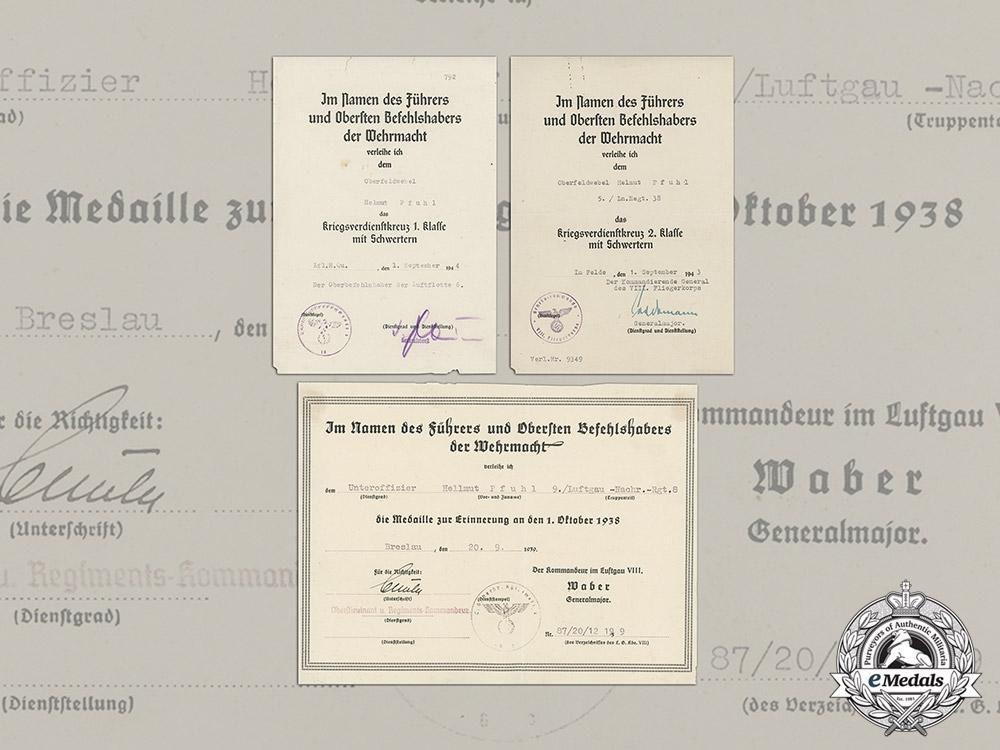 Germany. An Award Document Collection to Oberfeldwebel Pfuhl, 5./Ln.Regt.38