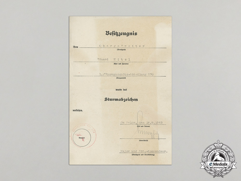 Germany. A Collection of Decorations and Award Documents to Anti-Tank Obergefreiter E. Hitzl
