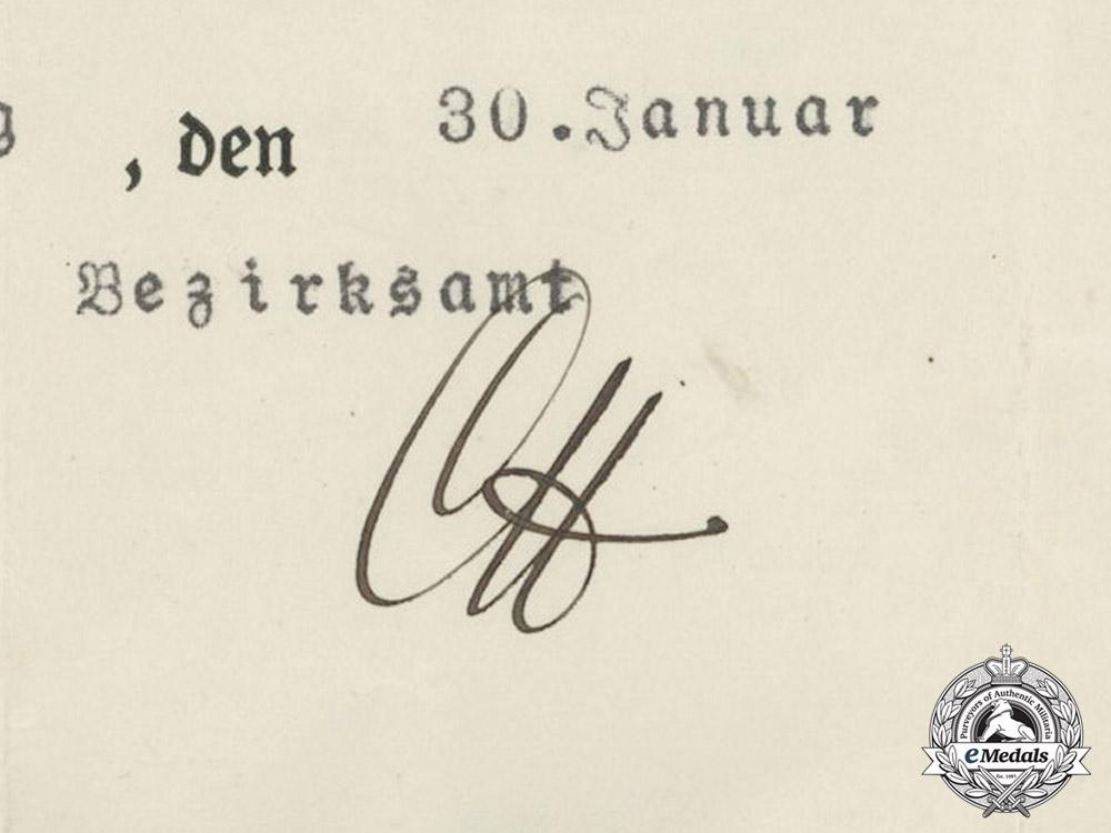 Germany. A Hindenburg Cross Award Document to Johann Gramann