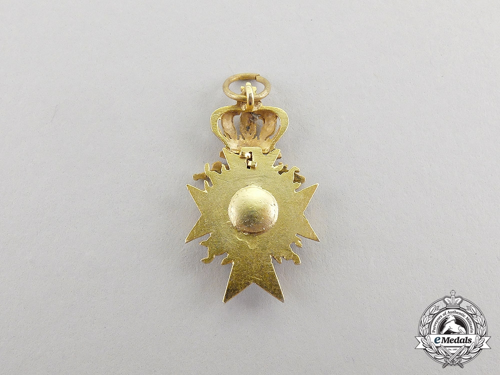 Bavaria. A Miniature Order of Military Merit, Officer's Cross in Gold with Flames