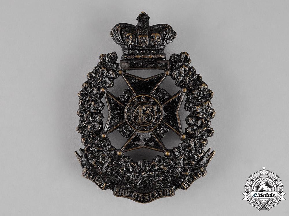Canada. A Victorian 43rd Ottawa and Carleton Battalion of Rifles Shoulder Belt Plate, c.1882