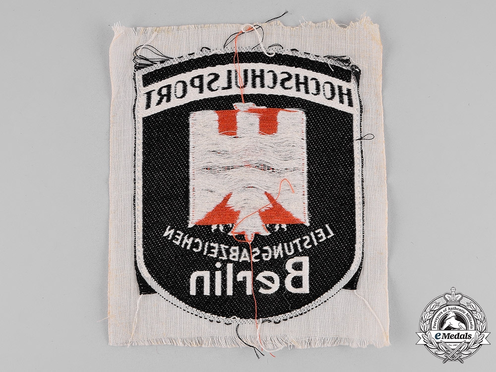 Germany, Third Reich. A College/University of Berlin Sports Proficiency Insignia; Cloth Version