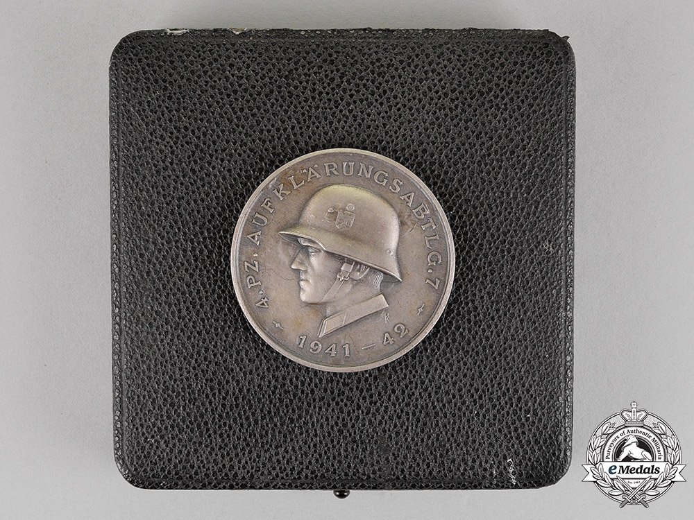 Germany. A 4th Panzer Reconnaisance Section Cased Commemorative Medal