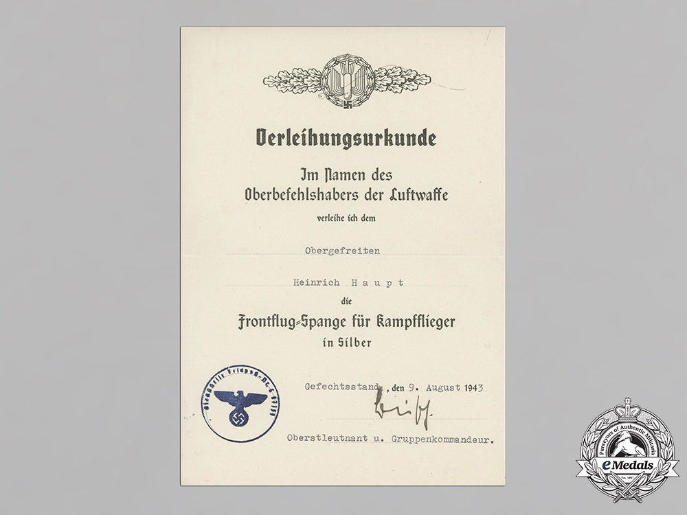 Germany. The Award Documents of Honour Goblet Recipient, Unique Alabama POW Camp Sports Award