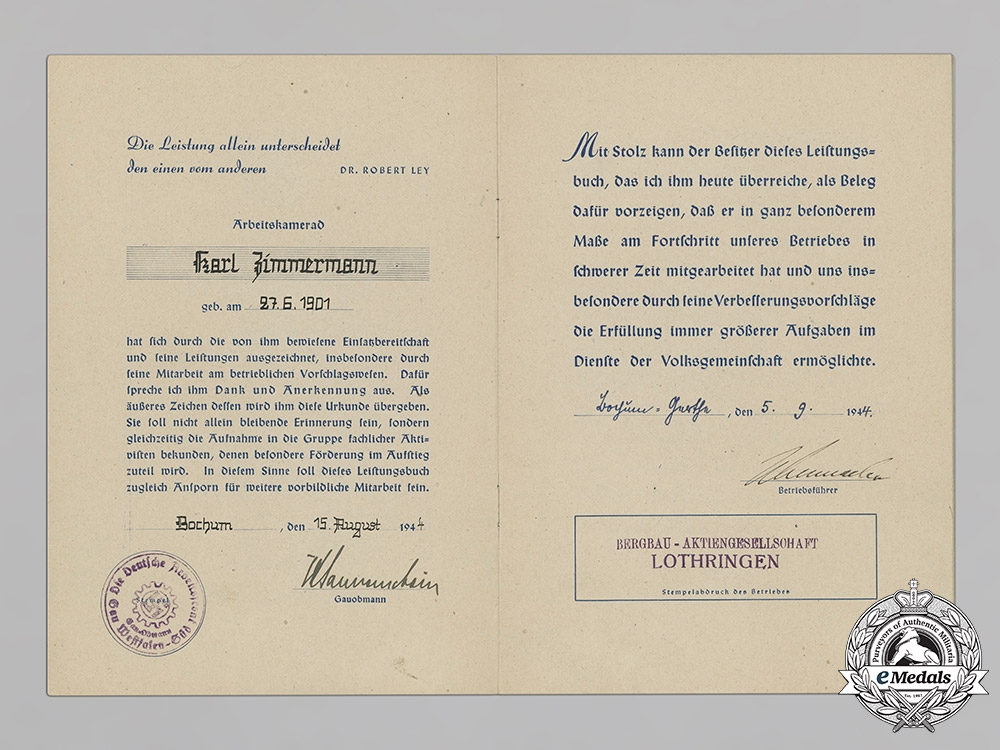 Germany. A Dr. Fritz Todt Prize with Award Document To K. Zimmermann, Numbered, c.1944