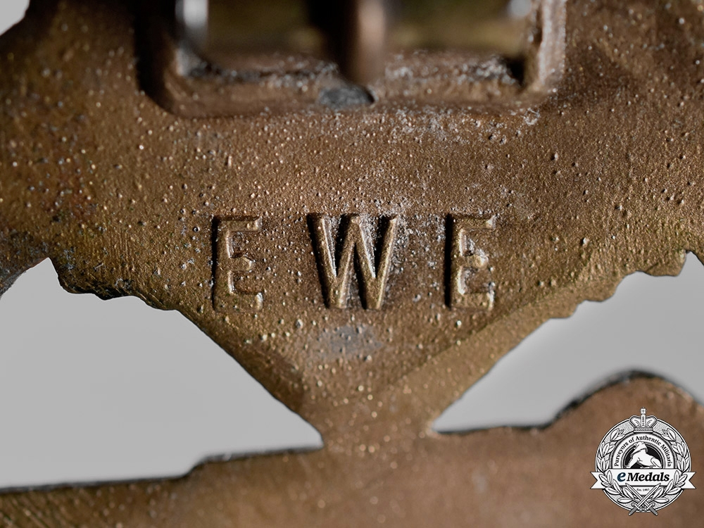 Germany, Wehrmacht. A Tank Badge, Bronze Grade, by Unknown Maker E.W.E