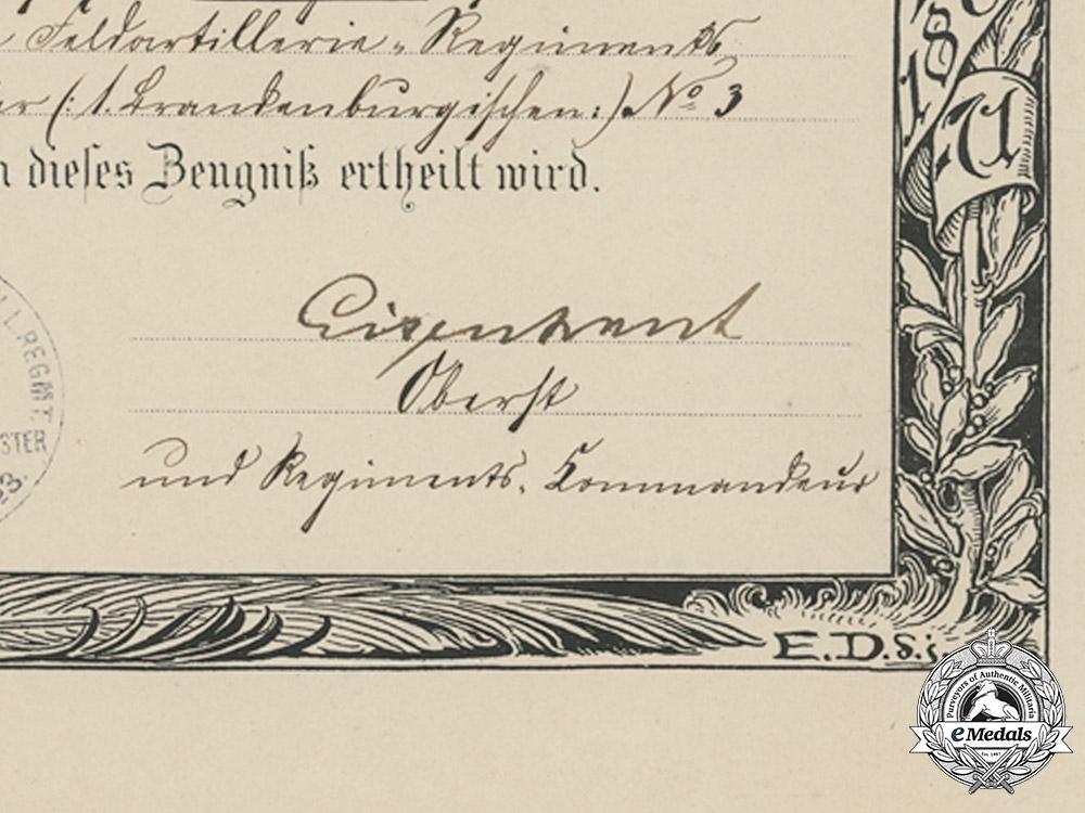 Germany, Imperial. An Emperor Wilhelm Centenary Medal Document to Gunner Reinhold Sprechert, Field Artillery, 1897
