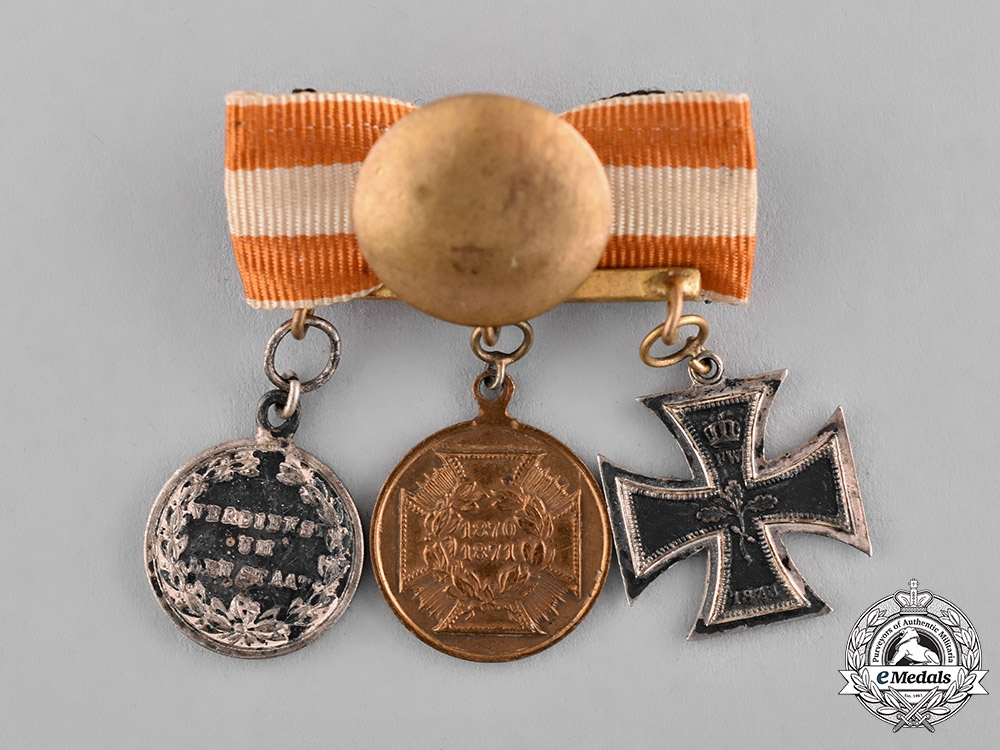 Prussia, State. An 1870 Boutonniere with Three Medals, Awards, and Decorations