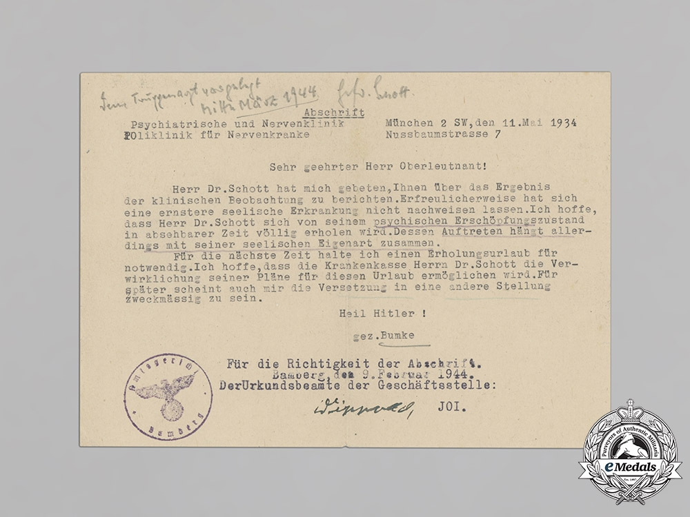 Germany, Heer. A Wehrpaß and Health Book to Gefreiter Dr. Walter Schott, Discharged due to Abnormal Mental Condition
