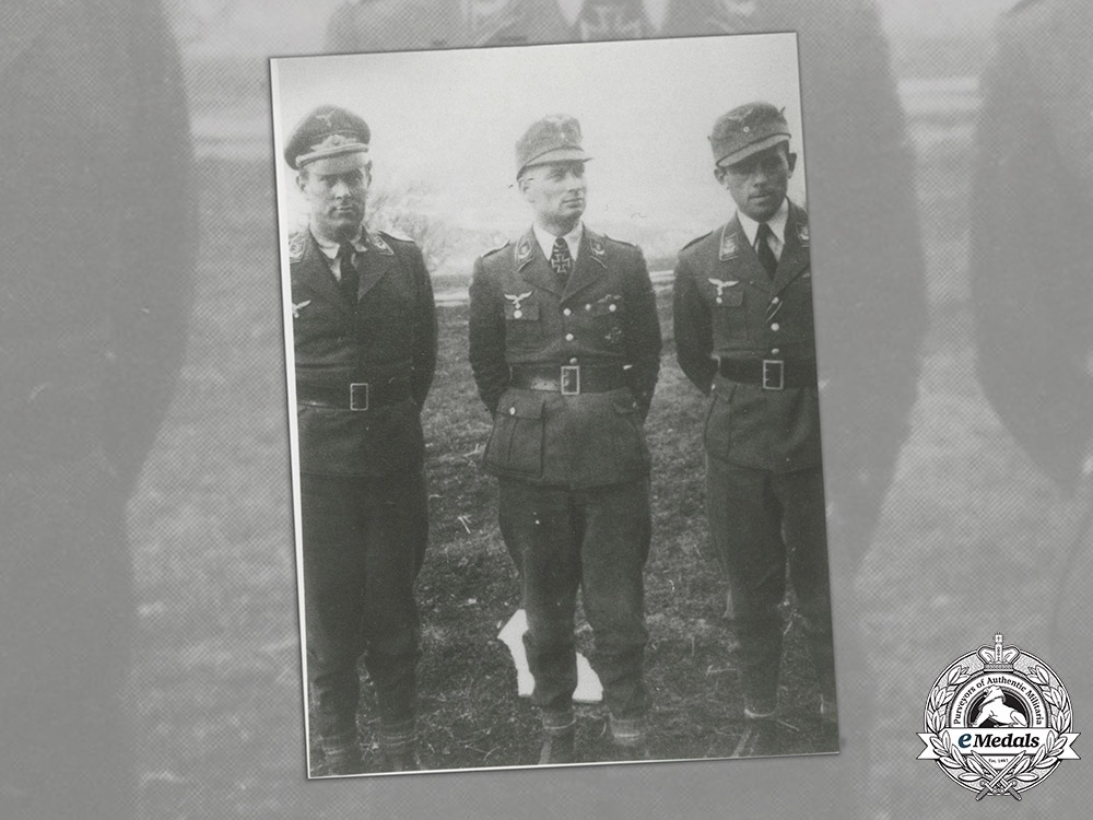Germany, Luftwaffe. A Post War Signed Print Of Hajo Herrmann (KC w/Swords)