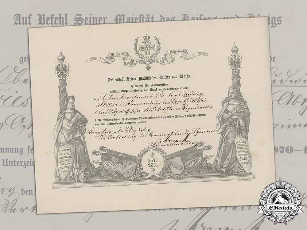 Germany, Imperial. A War Medal for Franco-Prussian War 1870/71 to Oberstleutnant of Artillery Friese