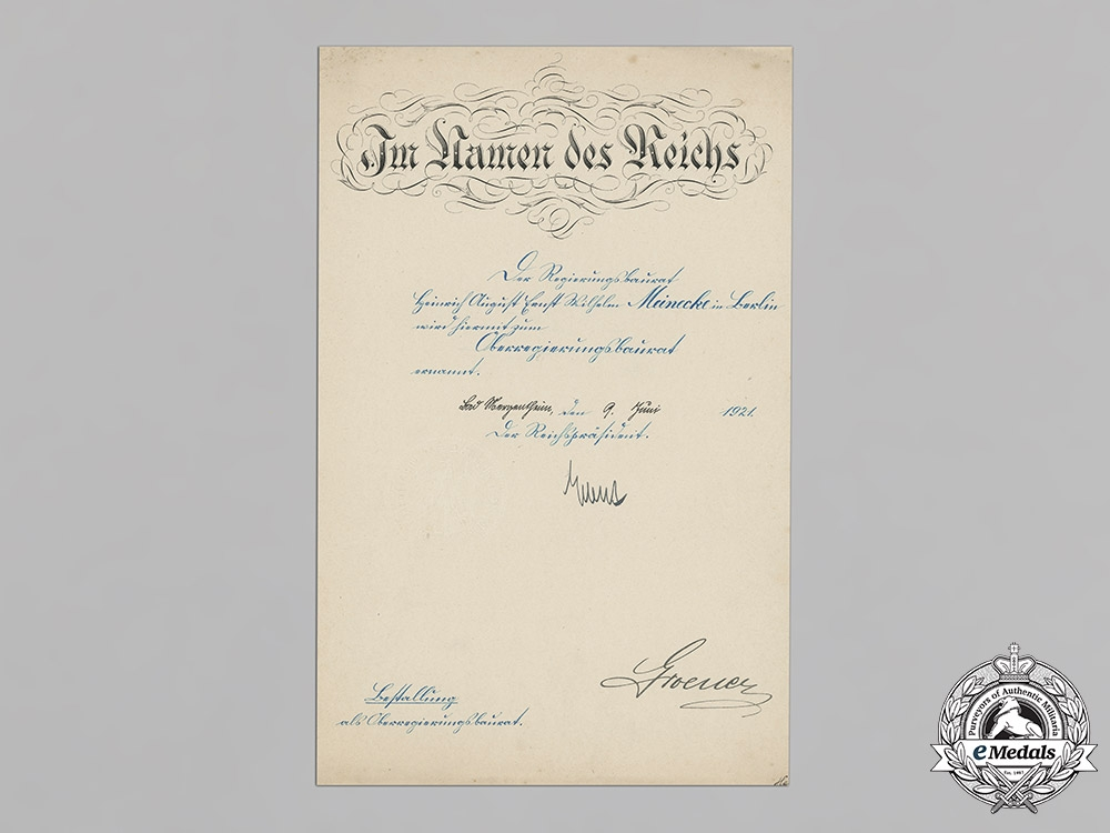 Germany, Weimar Republic. A Promotion Document To Senior Construction Councillor Signed By Reich President Friedrich Ebert