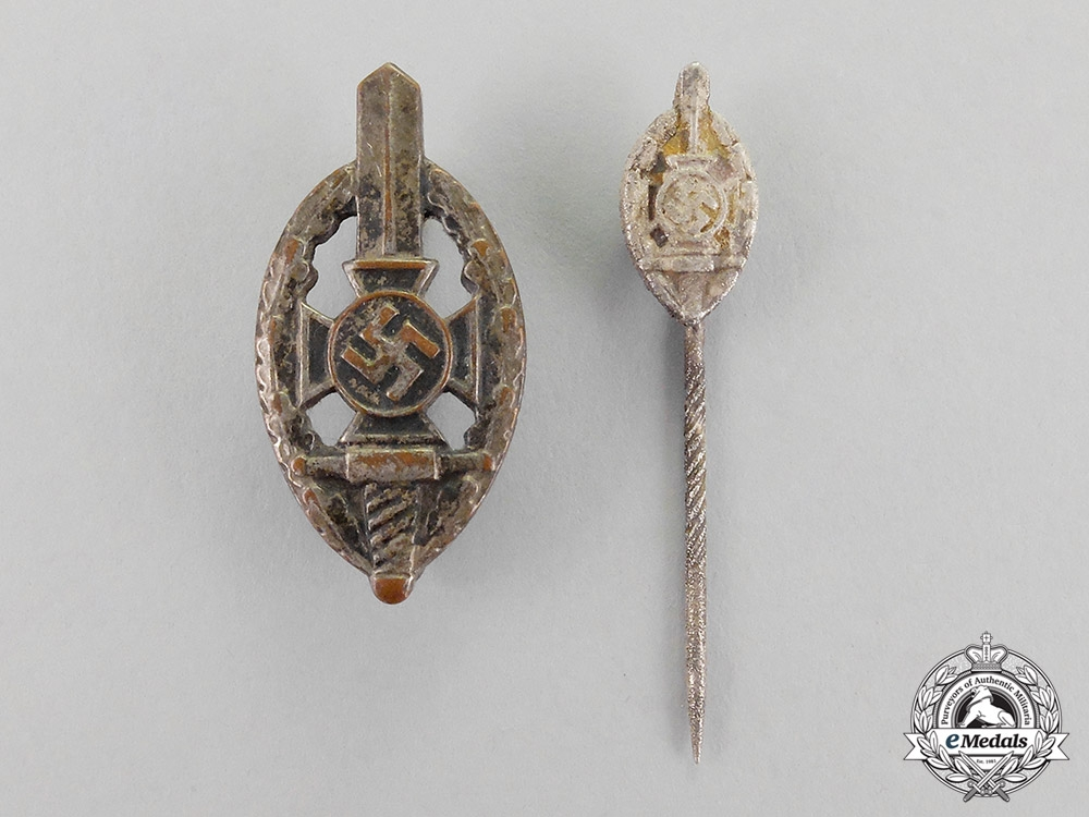 Germany. Two NSKOV Membership Badges and Stick Pins