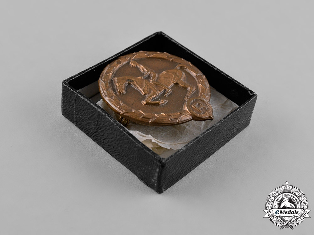 Germany. An Equestrian Youths Badge, in its Original Presentation Case of Issue, by Christian Lauer