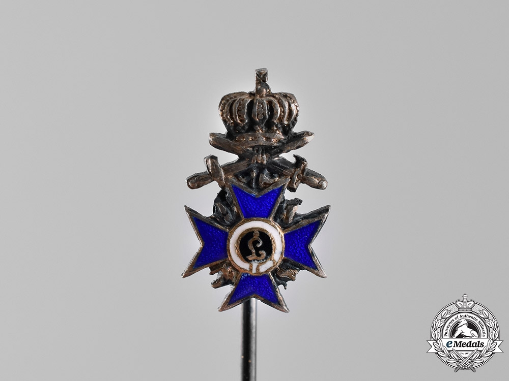 Bavaria, Kingdom. An Order of Military Merit, Third Class with Crown and Swords Miniature Stick Pin