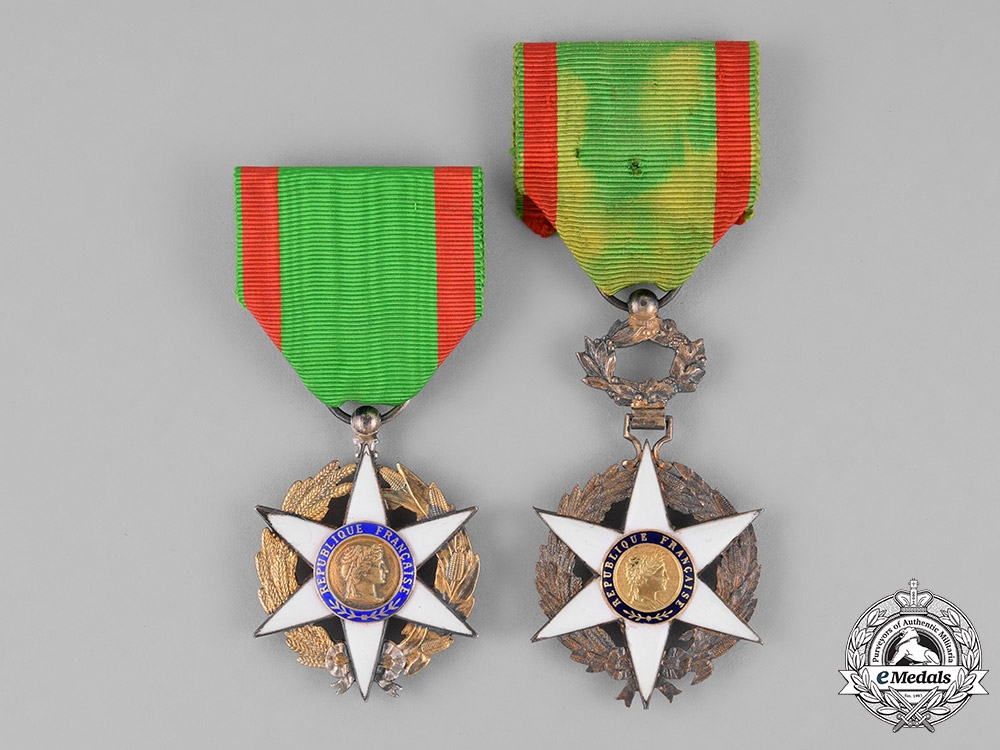 France, Republic. An Order of Agricultural Merit, Officer & Knight, c.1925