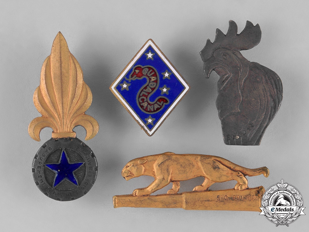 France, Republic. Sixteen Overseas Service French Military Insignia Badges