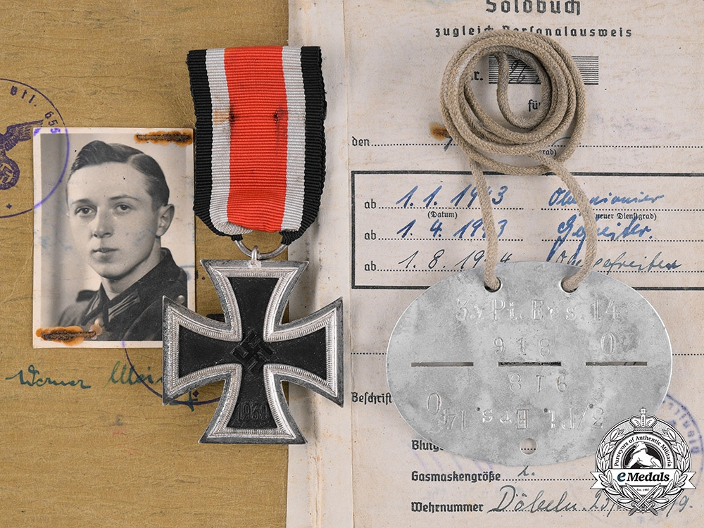 Germany  An Iron Cross, Identification Tag, and Soldbuch to Werner