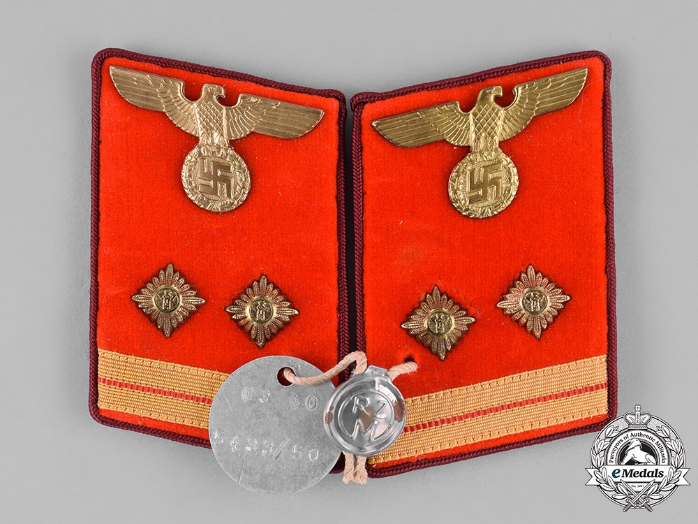 Germany, NSDAP. A Set of Hauptbereitschaftsleiter Collar Tabs, RZM Marked, with Proof Tag