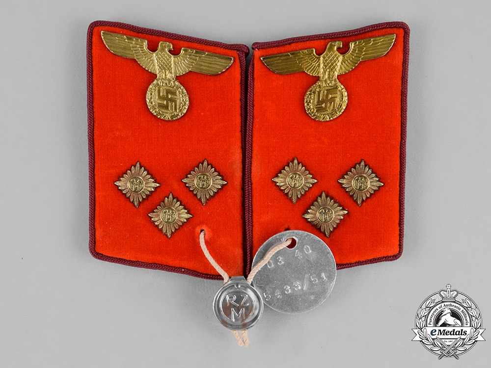 Germany, NSDAP. A Set of Einsatzleiter Collar Tabs, RZM Marked, with Proof Tag