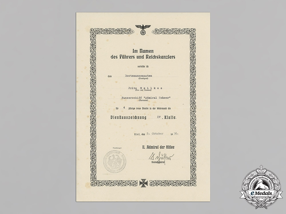 Germany, Kriegsmarine. A Collection of Career Awards, Award Documents, and Photo Albums of Friedrich Weilkes.