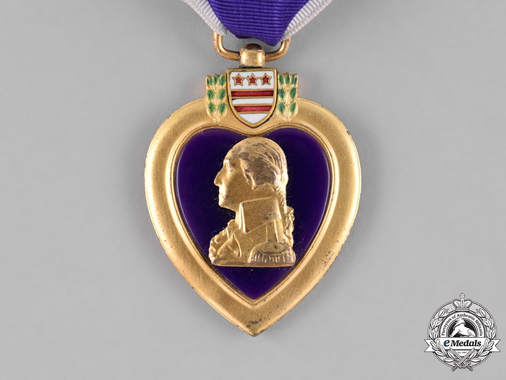 United States. A Purple Heart, Private Thompson, 27th Regiment, USMC, Killed in Action at Iwo Jima,  February 28, 1945