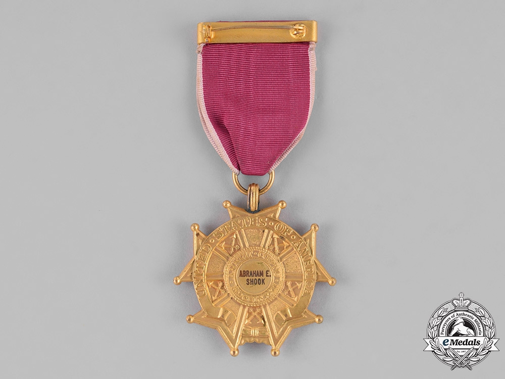 United States. A Legion of Merit, Legionnaire Grade to Colonel Abraham Edward Shook SS DFC LM AM, USAF