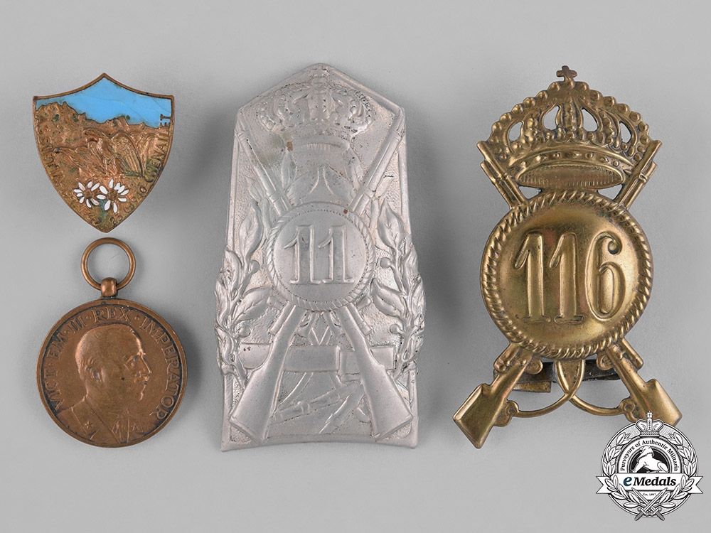 Italy, Kingdom. Four Badges, Medals, and Insignia