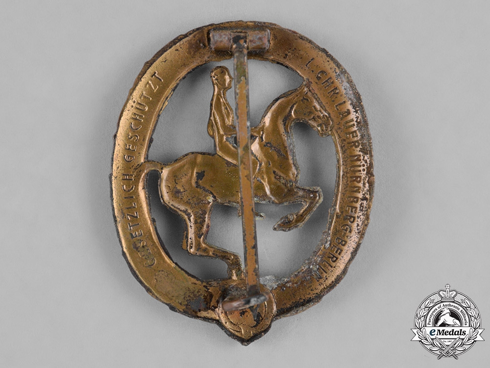 Germany, Third Reich. A Bronze Grade Equestrian Badge by L. Christian Lauer