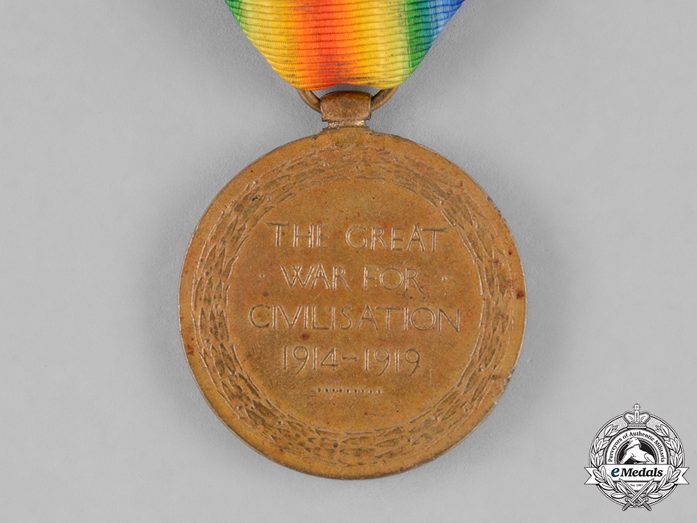 Canada. A Victory Medal to Greek-born Private Anastos Spanos, WIA during the Battle of the Canal du Nord