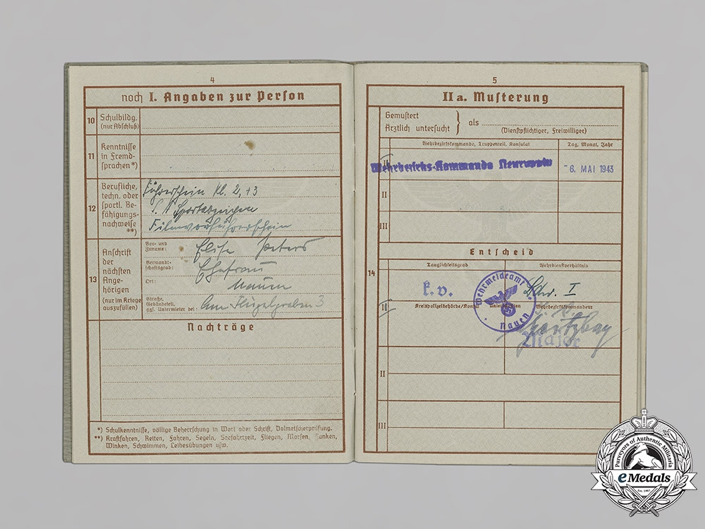 Germany, Third Reich. A Wehrpaß and Document Grouping of Wilhelm Peters