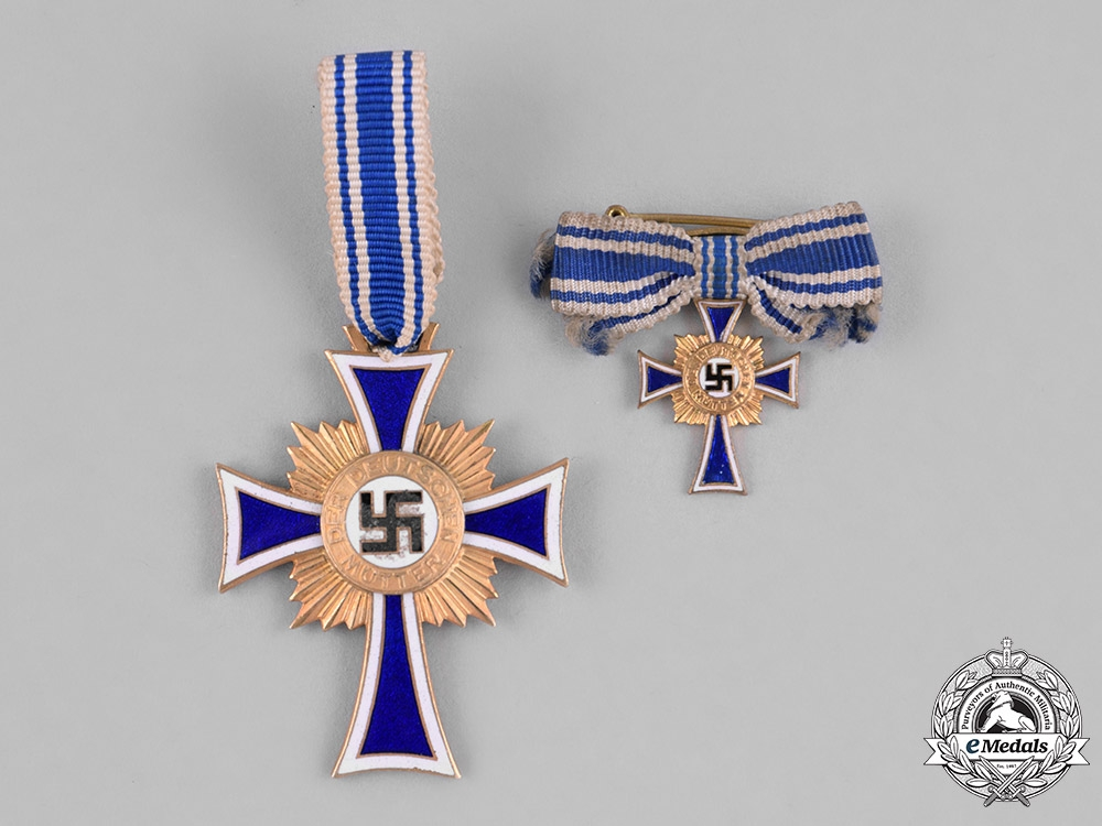 Germany, Third Reich. An Honour Cross of the German Mother, Gold Grade with Miniature by Wilhelm Deumer