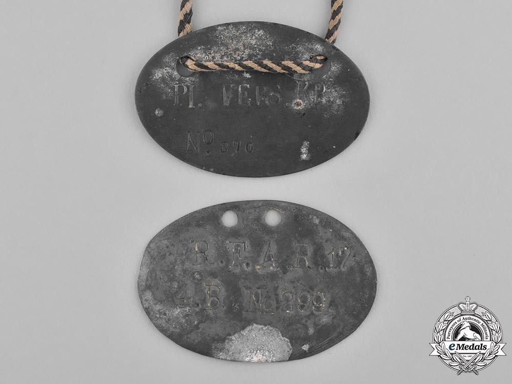 Europe. A Pair of First War German POW Identification Discs