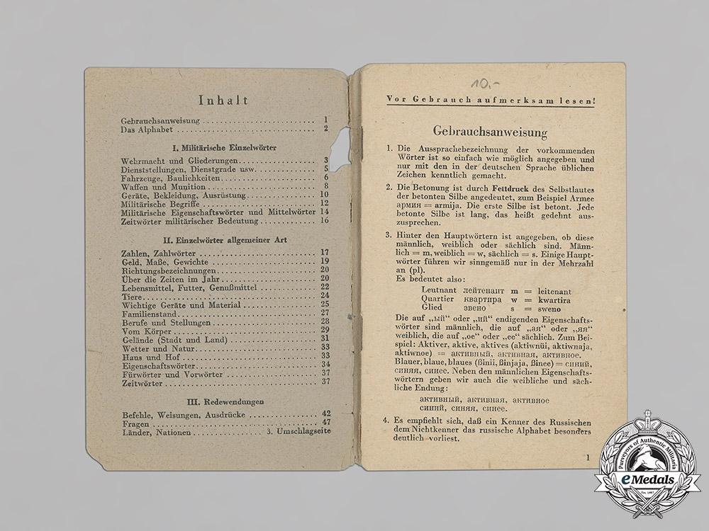 Germany, Wehrmacht. A German-Russian Phrasebook by Hauptmann Ferdinand Frhr. v. Ledebur