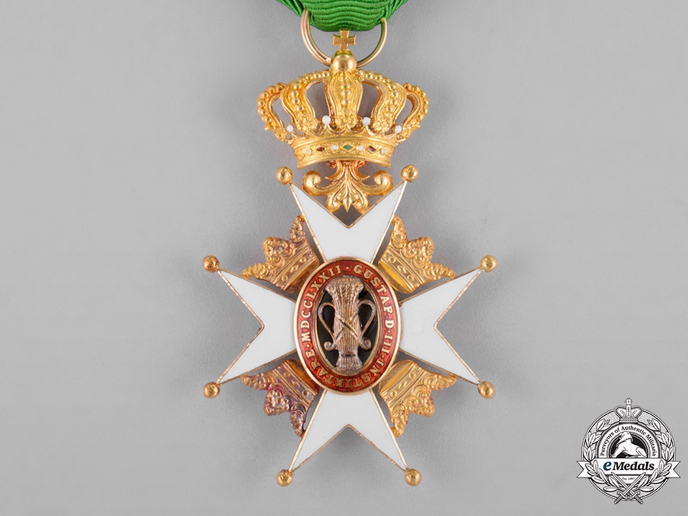 Sweden, Kingdom. An Order of Vasa in Gold, I Class Knight, by C. F. Carlman, c.1900