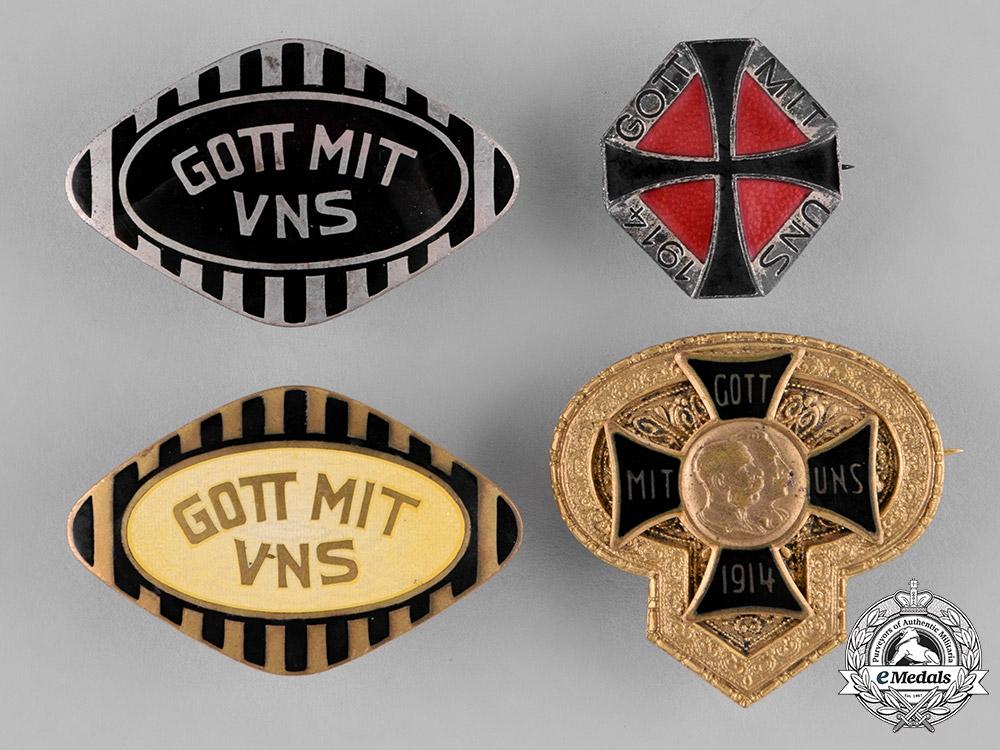 German, Imperial. Four Patriotic Badges, c.1914