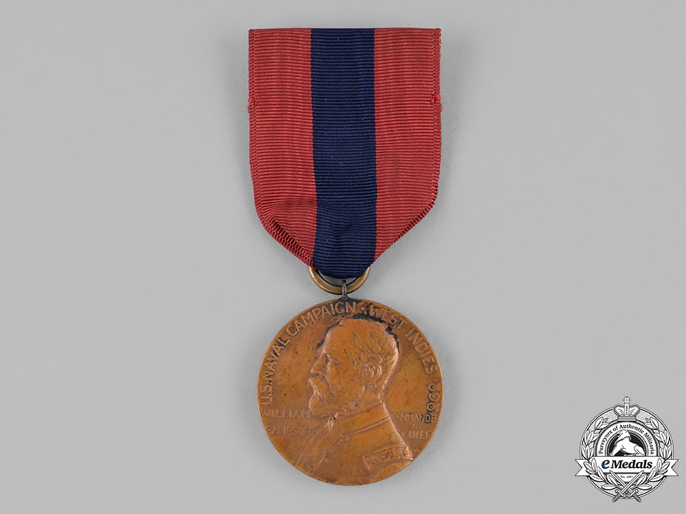 United States, Navy. A Sampson Medal (West Indies Naval Campaign Medal) to Frederic Stevens