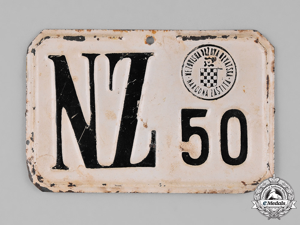"""Croatia, Independent State. A Bicycle Plate of the """"Peoples Defense"""" Organization"""