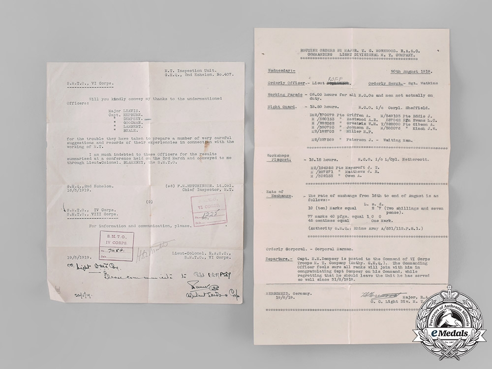 """United Kingdom. An """"Overlord"""" CBE & Document Group to Brigadier Harry Hamilton Dempsey"""
