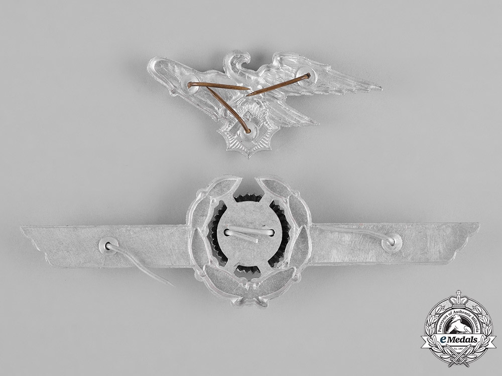 Germany, RLB. A Pair of Reich Air Protection League (RLB) Cap Insignia