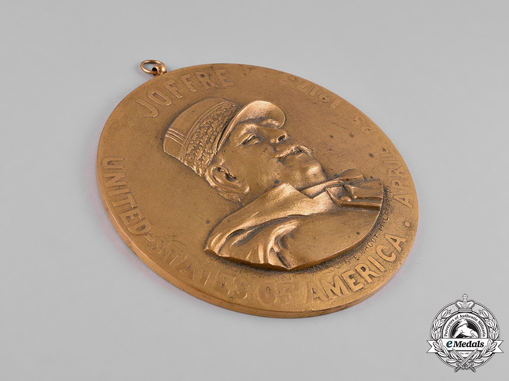 France, III Republic. A Marshal Joffre's Visit to the United States Table Medal 1917