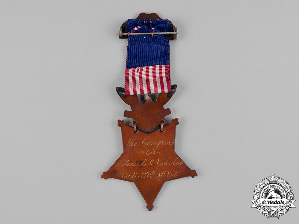 United States. A Congressional Medal of Honour, to Edward P. Nicholson, 27th Maine Infantry