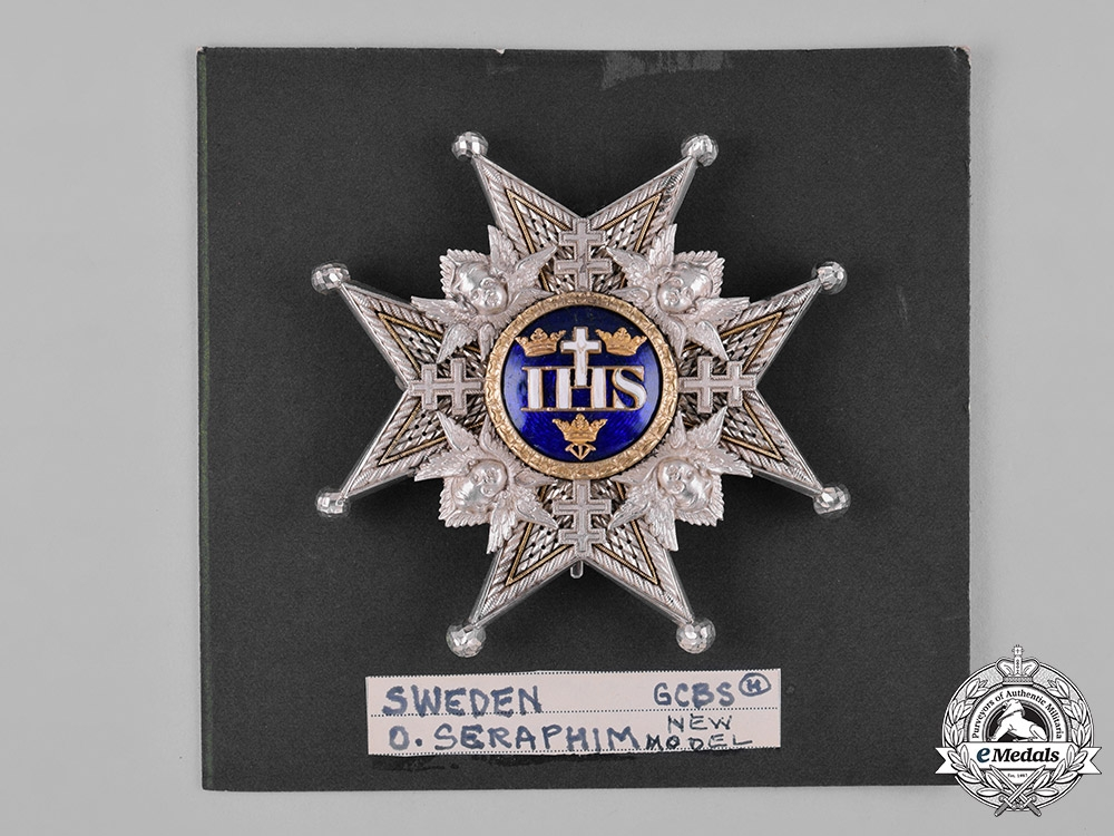 Sweden, Kingdom. A Royal Order of the Seraphim, Grand Cross Star, by C. F. Carlman, c.1950