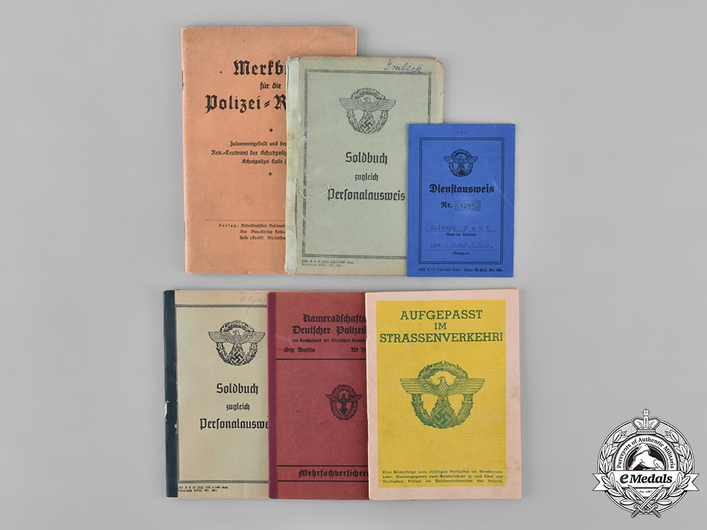 Germany, Ordnungspolizei. A Group of German Police Identification Documents